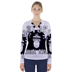 Stop Animal Abuse - Chimpanzee  V-Neck Long Sleeve Top