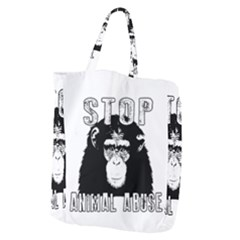 Stop Animal Abuse - Chimpanzee  Giant Grocery Zipper Tote