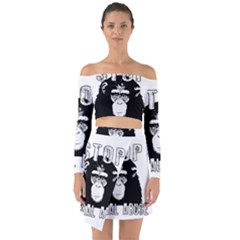 Stop Animal Abuse - Chimpanzee  Off Shoulder Top with Skirt Set