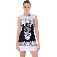 Stop Animal Abuse - Chimpanzee  Lace Up Front Bodycon Dress