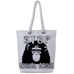 Stop Animal Abuse - Chimpanzee  Full Print Rope Handle Tote (Small)