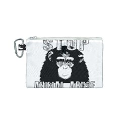 Stop Animal Abuse - Chimpanzee  Canvas Cosmetic Bag (Small)