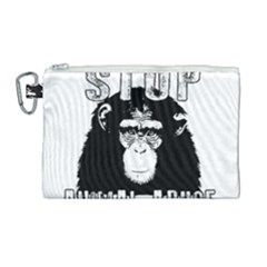 Stop Animal Abuse - Chimpanzee  Canvas Cosmetic Bag (Large)