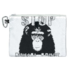 Stop Animal Abuse   Chimpanzee  Canvas Cosmetic Bag (xl) by Valentinaart