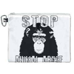 Stop Animal Abuse - Chimpanzee  Canvas Cosmetic Bag (XXL)