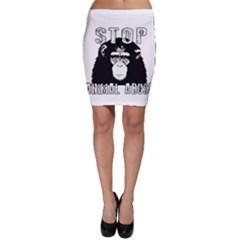 Stop Animal Abuse   Chimpanzee  Bodycon Skirt