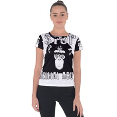 Stop Animal Abuse   Chimpanzee  Short Sleeve Sports Top