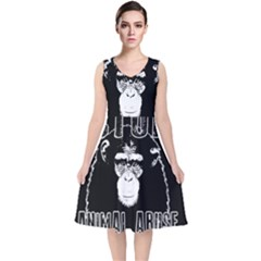 Stop Animal Abuse   Chimpanzee  V Neck Midi Sleeveless Dress