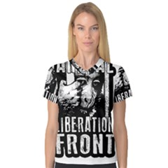 Animal Liberation Front   Chimpanzee  V Neck Sport Mesh Tee by Valentinaart