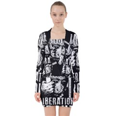 Animal Liberation Front   Chimpanzee  V Neck Bodycon Long Sleeve Dress