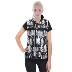 Animal Liberation Front   Chimpanzee  Women s Button Up Puffer Vest by Valentinaart