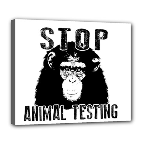 Stop Animal Testing   Chimpanzee  Deluxe Canvas 24  X 20   by Valentinaart