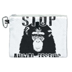Stop Animal Testing   Chimpanzee  Canvas Cosmetic Bag (xl)