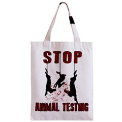 Stop Animal Testing   Rabbits  Zipper Classic Tote Bag by Valentinaart