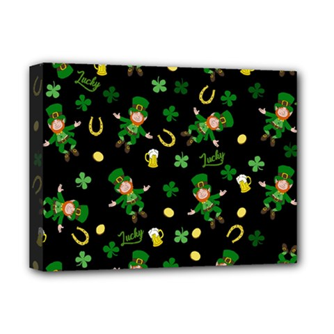 St Patricks Day Pattern Deluxe Canvas 16  X 12   by Valentinaart