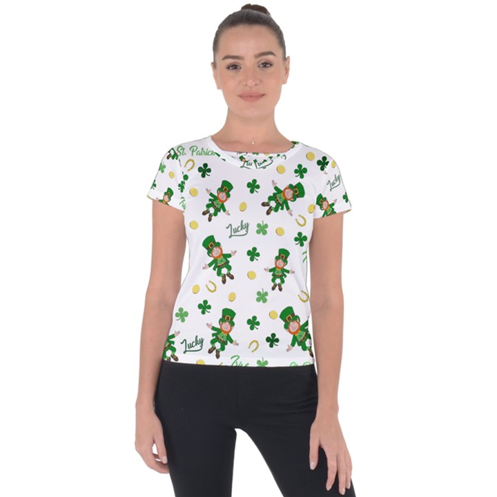 St Patricks day pattern Short Sleeve Sports Top