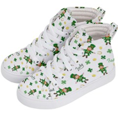 St Patricks Day Pattern Kid s Hi Top Skate Sneakers by Valentinaart
