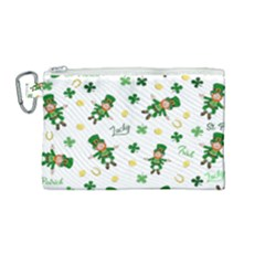 St Patricks Day Pattern Canvas Cosmetic Bag (medium) by Valentinaart