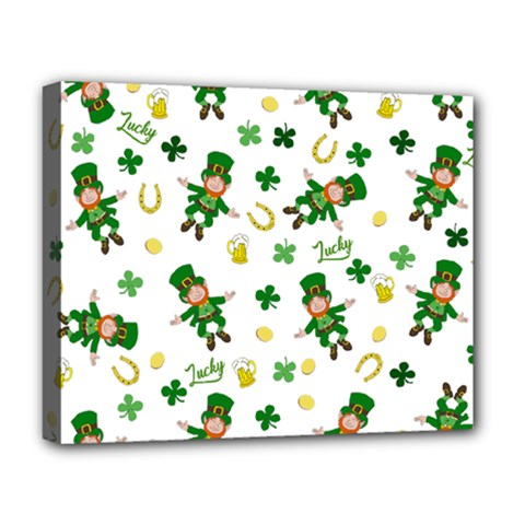 St Patricks Day Pattern Deluxe Canvas 20  X 16   by Valentinaart