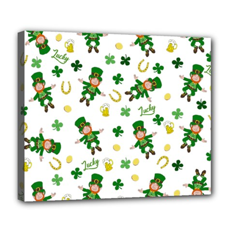 St Patricks Day Pattern Deluxe Canvas 24  X 20   by Valentinaart