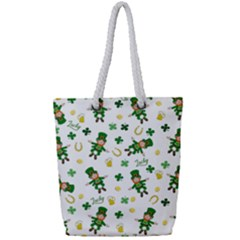 St Patricks Day Pattern Full Print Rope Handle Tote (small)