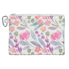 Purple And Pink Cute Floral Pattern Canvas Cosmetic Bag (xl) by paulaoliveiradesign