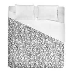 Elio s Shirt Faces In Black Outlines On White Duvet Cover (full/ Double Size)