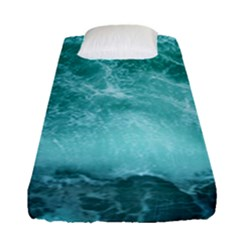 Green Ocean Splash Fitted Sheet (single Size) by snowwhitegirl