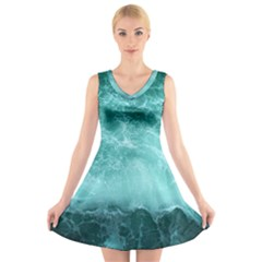 Green Ocean Splash V Neck Sleeveless Skater Dress by snowwhitegirl