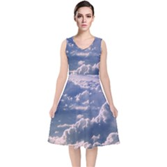In The Clouds V Neck Midi Sleeveless Dress