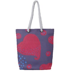 Lollipop Attacked By Hearts Full Print Rope Handle Tote (small)
