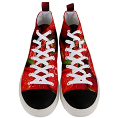 Red Strawberries Men s Mid Top Canvas Sneakers