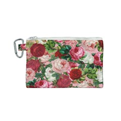 Rose Bushes Canvas Cosmetic Bag (small) by snowwhitegirl