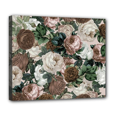 Rose Bushes Brown Deluxe Canvas 24  X 20   by snowwhitegirl