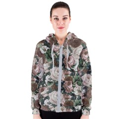 Rose Bushes Brown Women s Zipper Hoodie by snowwhitegirl