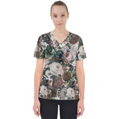 Rose Bushes Brown Scrub Top