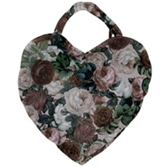 Rose Bushes Brown Giant Heart Shaped Tote by snowwhitegirl