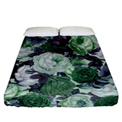 Rose Bushes Green Fitted Sheet (queen Size)