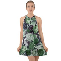 Rose Bushes Green Halter Tie Back Chiffon Dress by snowwhitegirl