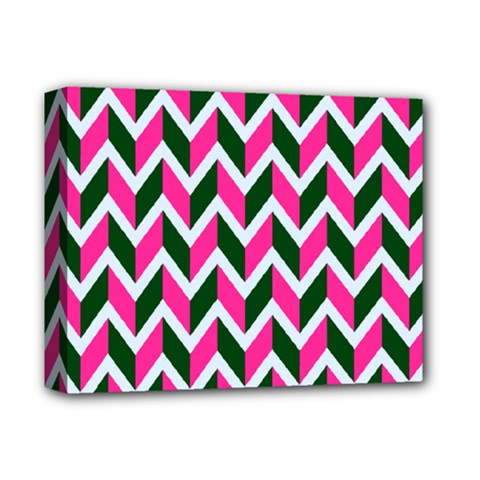 Chevron Pink Green Retro Deluxe Canvas 14  X 11