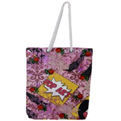 Red Retro Pop Full Print Rope Handle Tote (large)