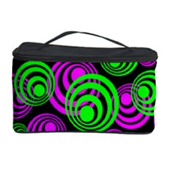 Neon Green And Pink Circles Cosmetic Storage Case by PodArtist