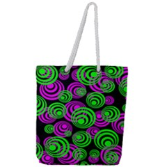 Neon Green And Pink Circles Full Print Rope Handle Tote (large) by PodArtist