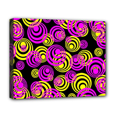 Neon Yellow And Hot Pink Circles Deluxe Canvas 20  X 16   by PodArtist