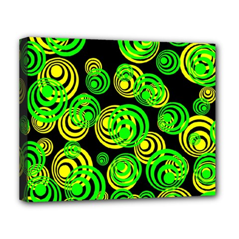Neon Yellow And Green Circles On Black Deluxe Canvas 20  X 16   by PodArtist
