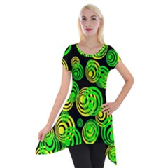 Neon Yellow And Green Circles On Black Short Sleeve Side Drop Tunic by PodArtist