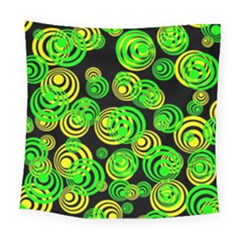 Neon Yellow And Green Circles On Black Square Tapestry (large) by PodArtist