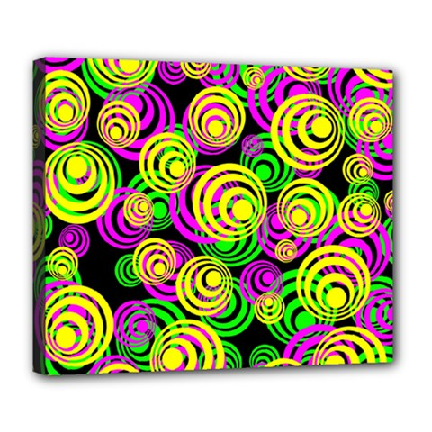 Bright Yellow Pink And Green Neon Circles Deluxe Canvas 24  X 20   by PodArtist