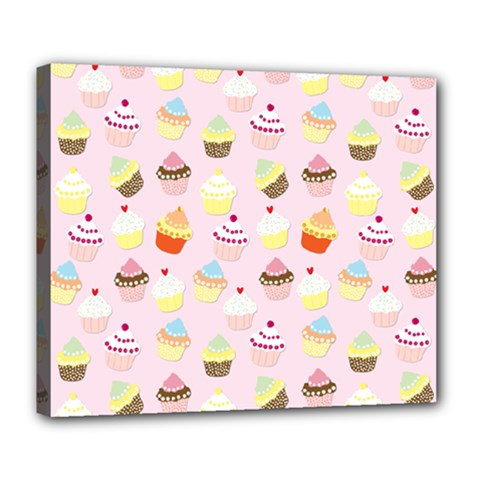 Baby Pink Valentines Cup Cakes Deluxe Canvas 24  X 20   by PodArtist