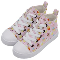 Baby Pink Valentines Cup Cakes Kid s Mid Top Canvas Sneakers by PodArtist